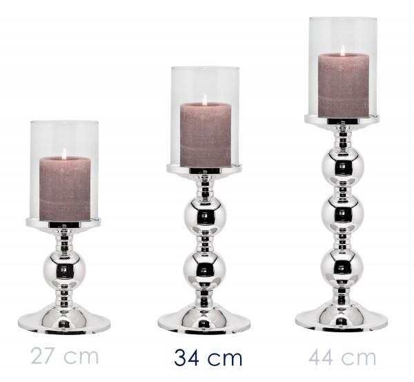Leuchter Kerzenleuchter Bamboo, edel versilbert, anlaufgeschützt, mit Glas, Höhe 34 cm