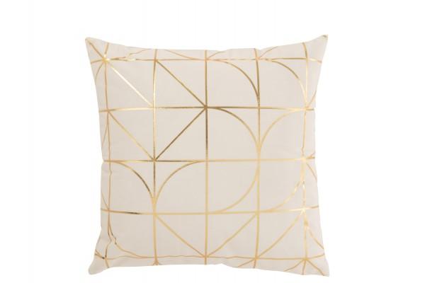 Kissen Muster Polyester Weiß/Gold
