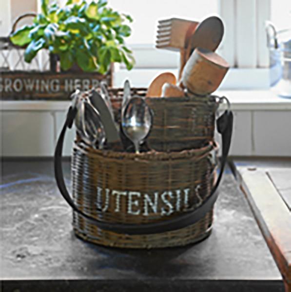 Rustic Rattan Utensils Basket