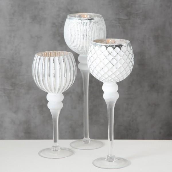 Windlicht Manou,(weiss/Glas lackiert)H30cm D12,5cm