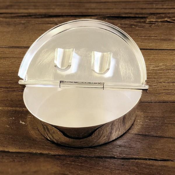 Klapp-Ascher Aschenbecher Ashburn, schwerversilbert, Durchmesser 10 cm, 2 Ablagemulden