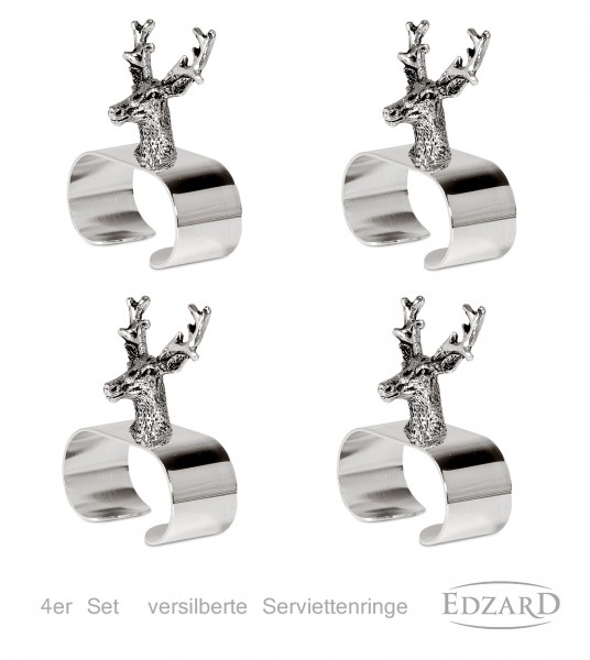4er Set Serviettenringe Hirsch, edel versilbert, Länge 5 cm