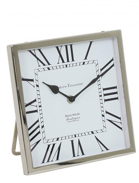Uhr 21x21x3 cm KELSTON antik Weiß-Nickel