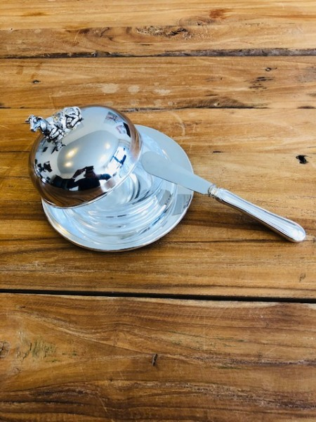 Butterdose Butterglocke Kuh, Durchmesser 14 cm, edel versilbert, mit passendem Buttermesser 18