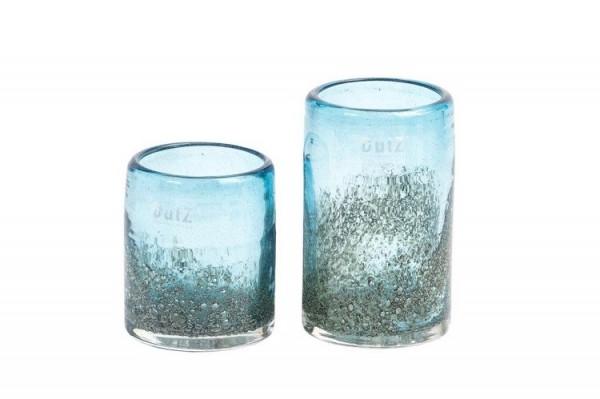 Cylinder H10 D9cm steelblue bubbles Vase Windlicht