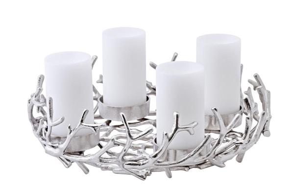 Adventskranz Porus, Geweih-Design, Aluminium vernickelt, Durchmesser 42 cm