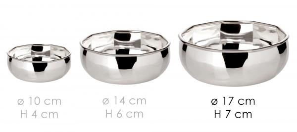 Schale Dekoschale Servierschale Ten, 10-eckig, schwerversilbert, Durchmesser 14 cm, Höhe 6 cm