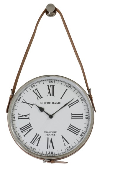Light & Living Uhr Ø30 cm NOTRE DAME nickel leder braun