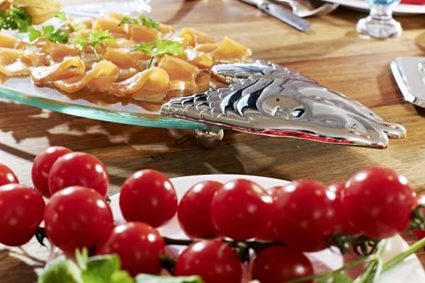 Fischplatte Salmon, Glas, edel versilberte Elemente, mit Heber, Länge 58 cm