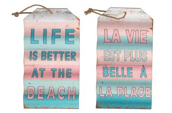 Schild Life/Vie Englisch/Französisch Blau/Rosa