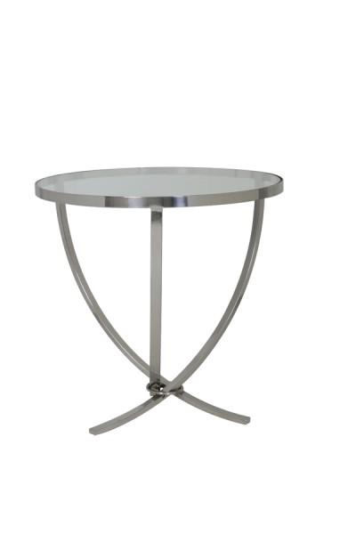 Light & Living Beistelltisch dreifuss Ø60x60 cm SORO nickel mit Glas Platte