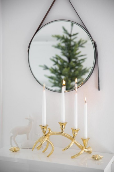 Kerzenleuchter Kingston, Aluminium vernickelt, goldfarben, Länge 33 cm, Höhe 12 cm