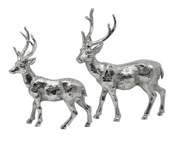 Dekofigur Deko Rentier, Aluminium vernickelt, Höhe 27 cm