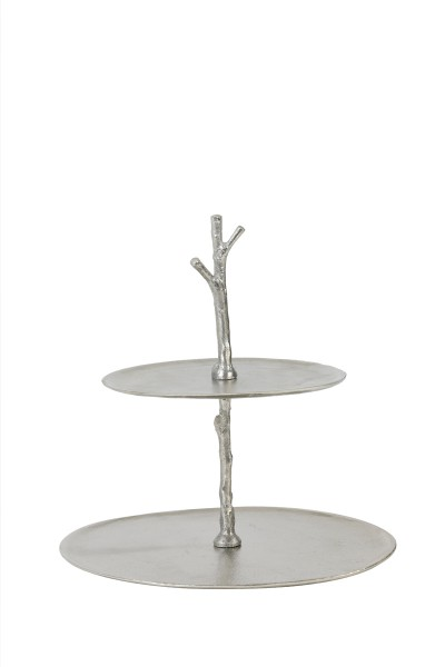 Light & Living Etagere 2 Schichten 30,5x27,5x31 cm TRESA roh nickel