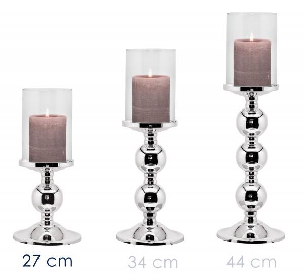 Leuchter Kerzenleuchter Bamboo, edel versilbert, anlaufgeschützt, mit Glas, Höhe 27 cm