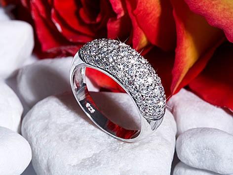 Ring Pavee 925 Silber rhodoniert 5656