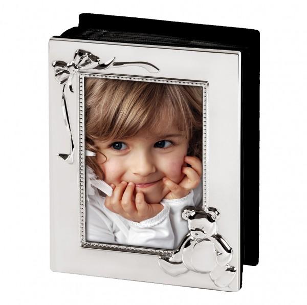 Kinder Fotoalbum Teddybär für 100 Fotos 10x15 cm, edel versilbert, anlaufgeschützt, schwarze Seiten