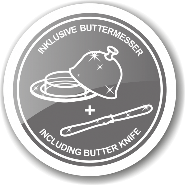 Butterdose Butterglocke Hirsch, Durchmesser 14 cm, edel versilbert, mit passendem Buttermesser 18 cm