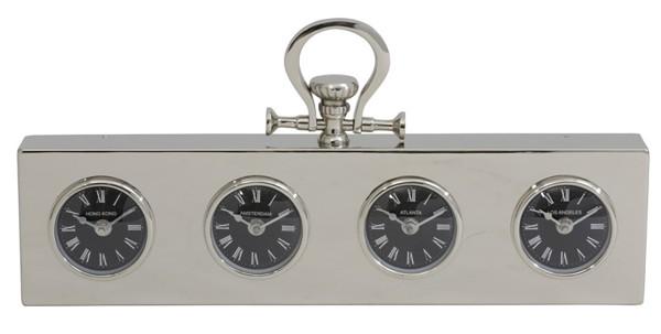 Uhr 49x5x25 cm CITIES nickel