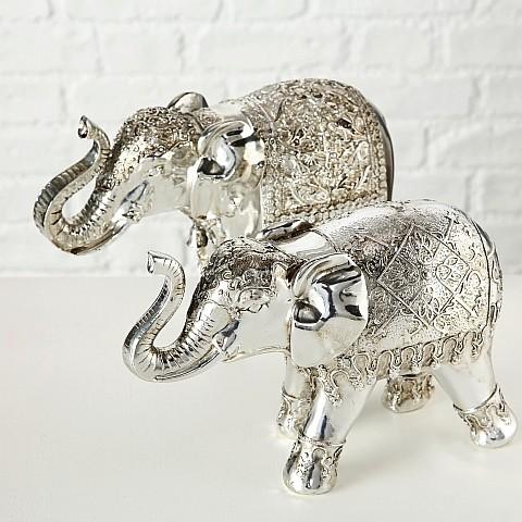 Figur Elefant, 2 sort., (silber/Kunstharz)