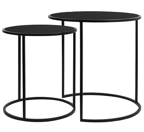 Beistelltisch S/2 Ø40x45+Ø50x52 cm DUARTE glas schwarz-matt