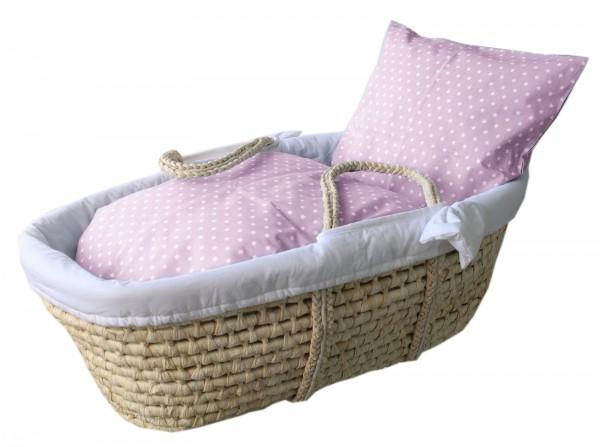 Babykorb Hängekorb Hängewiege Wiege Korb Baby Schaukelwiege BabyBett STERNE rosa mit Federwiege