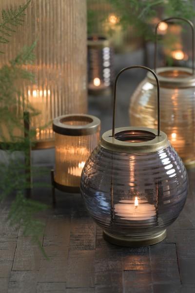 Windlicht Ø14x25 cm THOR glas grau luster+antik bronze