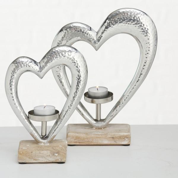 Boltze Teelichthalter großes Herz, (Farbmix/Materialmix)