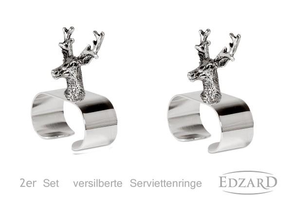 2er Set Serviettenringe Hirsch, edel versilbert, Länge 5 cm