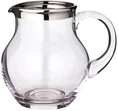 Krug Olivia, mundgeblasenes Kristallglas mit Platinrand, Höhe 17 cm, Füllmenge 1,5 Liter