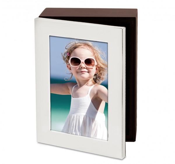 Foto-Schatulle Brescia, Holz, Deckel als Fotorahmen, edel versilbert, anlaufgeschützt, 17 x 22 cm
