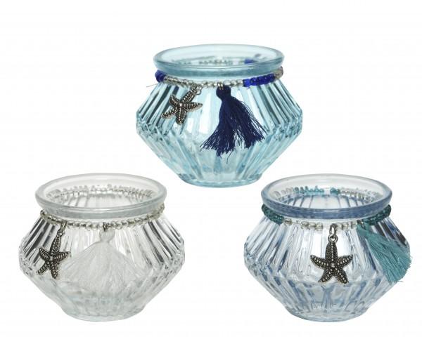 Glas Teelicht Seestern 3fs 8x8x6cm