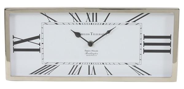 Uhr 36x16x3 cm KELSTON antik Weiß-Nickel