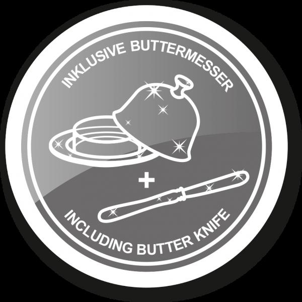 Butterdose Mary mit Glasplatte, edel versilbert, 8 x 13 cm, mit passendem Buttermesser