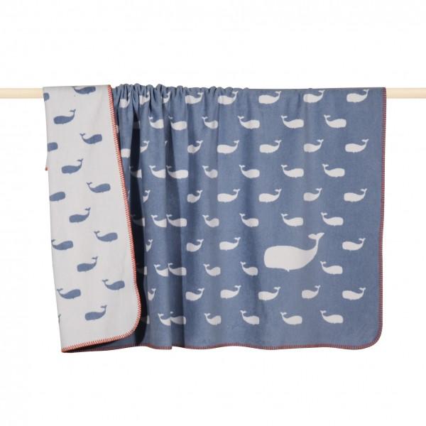 Whale Decke blau 75x100 cm