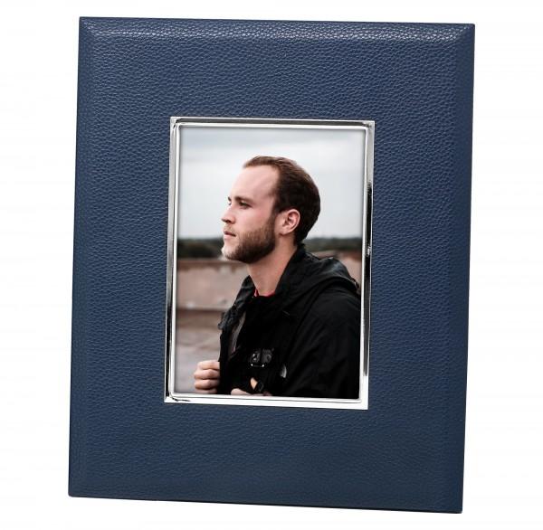 Fotorahmen Bert für Foto 13 x 18 cm, Lederoptik dunkelblau, edel versilbert, anlaufges., 2 Aufh
