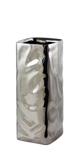 Kaheku Vase Carta eckig silber 10x10x25cm