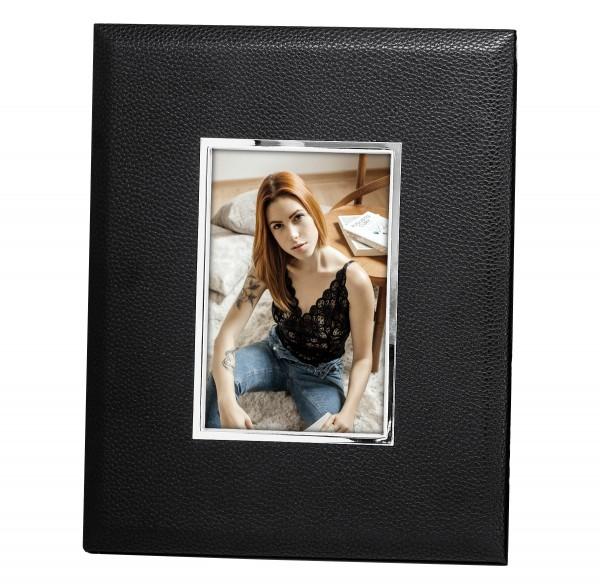 Fotorahmen Geno für Foto 10 x 15 cm, Lederoptik schwarz, edel versilbert, anlaufges., 2 Aufhäng
